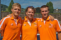 Austria, Kitzbühel, Juli 18, 2015, Tennis,  Junior Davis Cup, Ltr: Bart Stevens, coach Martijn Voorbaak and Guy den Heijer (NED)<br /> Photo: Tennisimages/Henk Koster