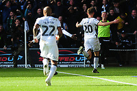 Ben Wilmot of Swansea City celebrates scoring the opening goal during the Sky Bet Championship match between Swansea City and Cardiff City at the Liberty Stadium in Swansea, Wales, UK. Sunday 27 October 2019