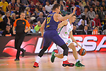 Turkish Airlines Euroleague 2017/2018.<br /> Regular Season - Round 13.<br /> FC Barcelona Lassa vs Unicaja Malaga: 83-90.<br /> Victor Claver vs Dragan Milosavijevic.