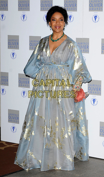 PHYLICIA RASHAD .The Laurence Olivier Awards 2010, Grosvenor House Hotel, London, England. .21st March 2010.full length white blue gold grey gray dress gown foil pattern.CAP/CAN.©Can Nguyen/Capital Pictures.