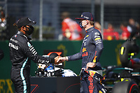 4th July 2020; Red Bull Ring, Spielberg Austria; F1 Grand Prix of Austria, qualifying sessions;  44 Lewis Hamilton GBR, Mercedes-AMG Petronas Formula One Team, 33 Max Verstappen NLD, Aston Martin Red Bull Racing 2nd and 3rd on pole