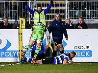 Ross Batty of Bath Rugby scores a try in the second half. Aviva Premiership match, between Bath Rugby and Northampton Saints on February 9, 2018 at the Recreation Ground in Bath, England. Photo by: Rogan Thomson / JMP for Onside Images