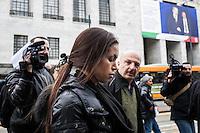 Milano: la protesta di Karima El Mahroug, conosciuta come Ruby, davanti al Palazzo di Giustizia di MIlano contro i giudici del processo che porta il suo nome..Milan: the protest of Karima El Mahroug, Ruby, in front of the courthouse in Milan, against the judges case that bring her name.