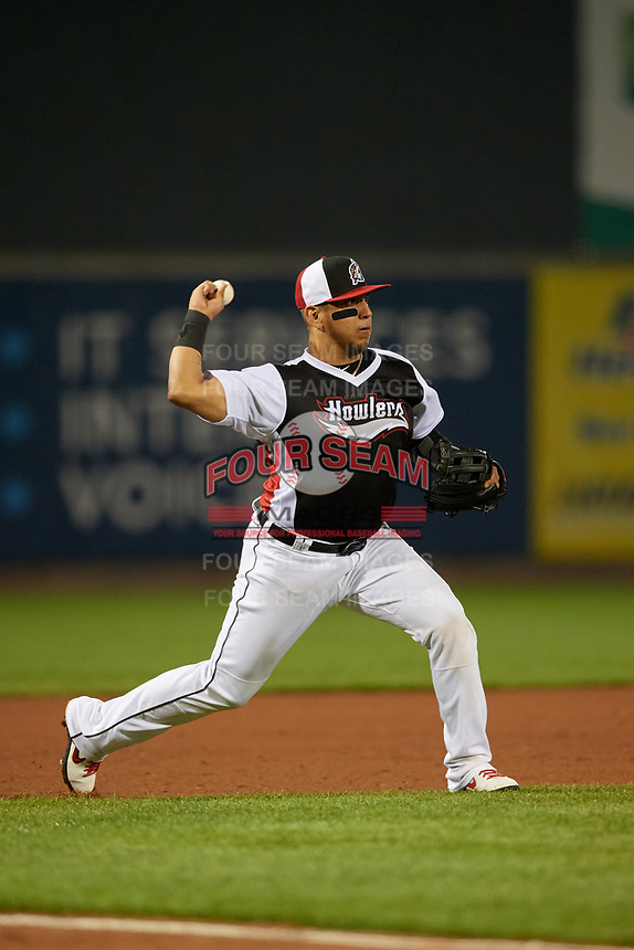 Erie SeaWolves third baseman Isaac Paredes (18) throws to first base during an Eastern League game against the Portland Sea Dogs on June 17, 2019 at UPMC Park in Erie, Pennsylvania.  Portland defeated Erie 6-3.  (Mike Janes/Four Seam Images)