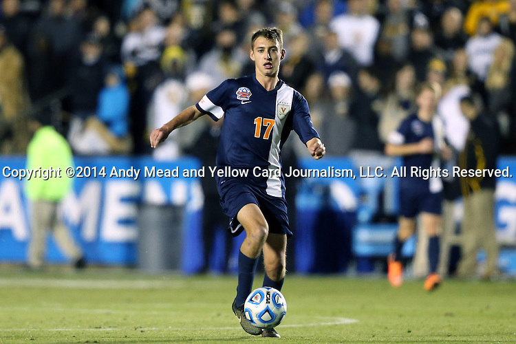12 December 2014: Virginia's Jake Rozhansky. The University of Virginia Cavaliers played the University of Maryland Baltimore County Retrievers at WakeMed Stadium in Cary, North Carolina in a 2014 NCAA Division I Men's College Cup semifinal match. Virginia won the game 1-0.