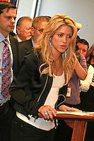 APX-042910  A Press Conference held by Grammy Award-winning, singer and philanthropist Shakira visted with Phoenix Mayor Phil Gordan to join the fight against SB 1070, and met with city leaders and law enforcement officials, at Phoenix City Hall on Thursday April 29,2010. Photo by AJ Alexander.