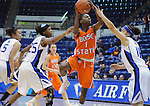 January 14, 2012:  Boise State guard, Heather Pilcher (1), drives for a layup during a Mountain West Conference match-up between the Boise State Broncos and the Air Force Academy Falcons at Clune Arena, U.S. Air Force Academy, Colorado Springs, CO.  Boise State defeats Air Force 81-75.