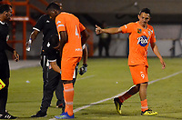 ENVIGADO -COLOMBIA, 24-09-2018: Wilfrido de la Rosa (#9) jugador de Envigado FC celebra después de anotar el primer gol de su equipop a America de Cali durante partido por la fecha 11 de la Liga Águila II 2018 realizado en el Polideportivo Sur de la ciudad de Envigado. / Wilfrido de la Rosa (#9) player of Envigado FC celebrates after scoring the first goal of his team to America de Cali during match for the date 11 of the Aguila League II 2018 played at Polideportivo Sur in Envigado city.  Photo: VizzorImage/ Leon Monsalve / Cont
