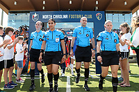 Cary, North Carolina  - Saturday June 03, 2017: The match officials (from left): Alicia Messer, Christina Unkel, Christopher Spivey, and Maggie Short lead the players onto the field prior to a regular season National Women's Soccer League (NWSL) match between the North Carolina Courage and the FC Kansas City at Sahlen's Stadium at WakeMed Soccer Park. The Courage won the game 2-0.
