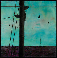 Mixed media photo transfer of crows and power lines over encaustic painting by Jeff League.