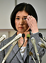 March 27, 2015, Tokyo, Japan - President Kumiko Otsuka of major Japanese furniture retailer Otsuka Kagu Ltd. speaks during a news conference in Tokyo following its annual shareholders' meeting on Friday, March 27, 2015. In a proxy fight over management, the companys founder and chairman, Katsuhisa Otsuka, 71, sought to overthrow his daughter, Kumiko, but shareholders voted down the chairman's proposal and selected a board favorable to his daughter.  (Photo by Natsuki Sakai/AFLO) AYF -mis-