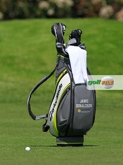 Jamie Donaldson (WAL) bag on the 18th fairway during the Pro-Am of The BMW PGA Championship  at Wentworth Golf Club on Wednesday 24rd May 2017.<br /> Photo: Golffile / Thos Caffrey.<br /> <br /> All photo usage must carry mandatory copyright credit     (&copy; Golffile | Thos Caffrey)