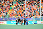 The Hague, Netherlands, June 10: Players of New Zealand huddle together prior to the second half during the field hockey group match (Men - Group B) between New Zealand and The Netherlands on June 10, 2014 during the World Cup 2014 at Kyocera Stadium in The Hague, Netherlands. Final score 1-1 (0-1) (Photo by Dirk Markgraf / www.265-images.com) *** Local caption ***