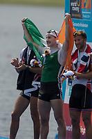 Sarasota. Florida USA. IRL LM1X. Paul O'DONOVAN, awards dock after  winning the A Final at the 2017 World Rowing Championships, Nathan Benderson Park<br /> <br /> Friday  29.09.17   <br /> <br /> [Mandatory Credit. Peter SPURRIER/Intersport Images].<br /> <br /> <br /> NIKON CORPORATION -  NIKON D500  lens  VR 500mm f/4G IF-ED mm. 200 ISO 1/800/sec. f 8