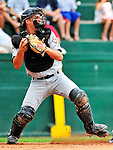 25 July 2010: Tri-City ValleyCats catcher Buck Afenir in action against the Vermont Lake Monsters at Centennial Field in Burlington, Vermont. The ValleyCats came from behind to defeat the Lake Monsters 10-8 in NY Penn League action. Mandatory Credit: Ed Wolfstein Photo