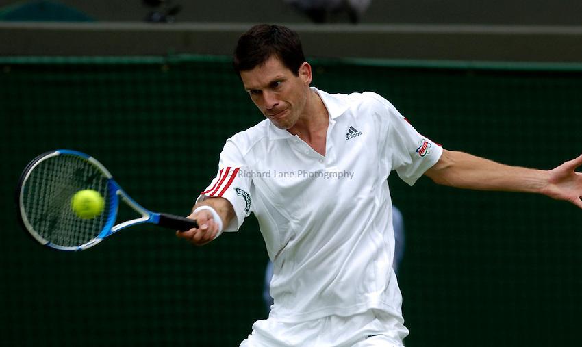 Photo: Richard Lane..Wimbledon Championships. 27/06/2006. .Great Britain's Tim Henman returns.