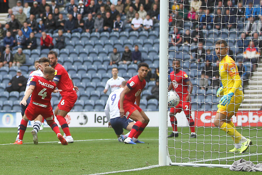Preston North End'sCedric Kipre,Patrick Bauer scores his sides first goal  beating Wigan Athletic's David Marshall <br /> <br /> Photographer Mick Walker/CameraSport<br /> <br /> The EFL Sky Bet Championship - Preston North End v Wigan Athletic - Saturday 10th August 2019 - Deepdale Stadium - Preston<br /> <br /> World Copyright © 2019 CameraSport. All rights reserved. 43 Linden Ave. Countesthorpe. Leicester. England. LE8 5PG - Tel: +44 (0) 116 277 4147 - admin@camerasport.com - www.camerasport.com