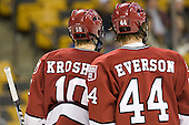 Eric Kroshus (Harvard - 10), Max Everson (Harvard - 44) - The Harvard University Crimson defeated the Northeastern University Huskies 3-2 in the 2012 Beanpot consolation game on Monday, February 13, 2012, at TD Garden in Boston, Massachusetts.
