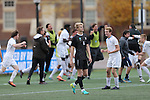 SALEM, VA - DECEMBER 3:Trent Vegter (6) of Calvin College walks off the field as Tufts celebrates during theDivision III Men's Soccer Championship held at Kerr Stadium on December 3, 2016 in Salem, Virginia. Tufts defeated Calvin 1-0 for the national title. (Photo by Kelsey Grant/NCAA Photos)