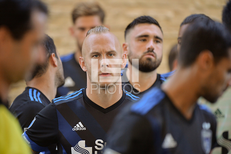 San Jose, CA - Wednesday June 13, 2018: Magnus Eriksson prior to a Major League Soccer (MLS) match between the San Jose Earthquakes and the New England Revolution at Avaya Stadium.