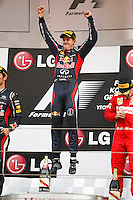 ATENCAO EDITOR - IMAGEM EMBARGADA PARA VEICULOS INTERNACIONAIS - <br /> YEONGAM, COREIA DO SUL, 14 OUTUBRO 2012 - F1 - GP DA COREIA DO SUL - O piloto alemao Sebastian Vettel da equipe Red Bull comemora vitoria no GP da Coreia do Sul, neste domingo, 14. (FOTO: PIXATHLON / BRAZIL PHOTO PRESS).