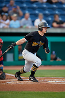 West Virginia Black Bears right fielder Brett Kinneman (5) hits a single during a game against the State College Spikes on August 30, 2018 at Medlar Field at Lubrano Park in State College, Pennsylvania.  West Virginia defeated State College 5-3.  (Mike Janes/Four Seam Images)