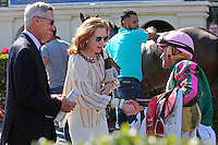 HALLANDALE BEACH, FL - FEBRUARY 04:  Michael Matz and Dorothy Matz congratulate jockey Luis Saez after they win the Forward Gal Stakes G2 at Gulfstream Park on February 04, 2017 in Hallandale Beach, Florida. (Photo by Liz Lamont/Eclipse Sportswire/Getty Images)