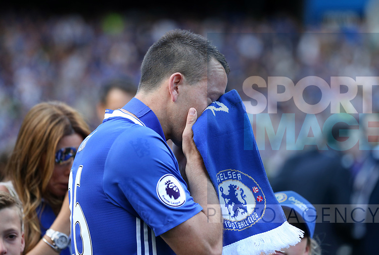 Chelsea's John Terry cries during the Premier League match at Stamford Bridge Stadium, London. Picture date: May 18th, 2017. Pic credit should read: David Klein/Sportimage