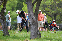 Lucas Bjerregaard (DEN) hits from the trees on 1 during day 2 of the Valero Texas Open, at the TPC San Antonio Oaks Course, San Antonio, Texas, USA. 4/5/2019.<br /> Picture: Golffile | Ken Murray<br /> <br /> <br /> All photo usage must carry mandatory copyright credit (© Golffile | Ken Murray)