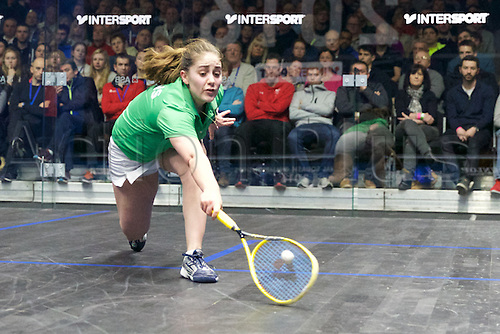 13.02.2016. National Squash Centre, Manchester, England. British National Squash Championships. Laura Massaro lunges for the ball.