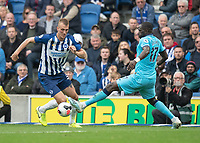 Brighton & Hove Albion's Dan Burn (left) is tackled by Tottenham Hotspur's Moussa Sissoko (right) <br /> <br /> Photographer David Horton/CameraSport<br /> <br /> The Premier League - Brighton and Hove Albion v Tottenham Hotspur - Saturday 5th October 2019 - The Amex Stadium - Brighton<br /> <br /> World Copyright © 2019 CameraSport. All rights reserved. 43 Linden Ave. Countesthorpe. Leicester. England. LE8 5PG - Tel: +44 (0) 116 277 4147 - admin@camerasport.com - www.camerasport.com