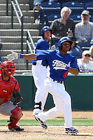 Leon Landry #6 of the Rancho Cucamonga Quakes bats against the Inland Empire 66'ers at The Epicenter on April 8, 2012 in Rancho Cucamonga,California. Inland Empire defeated Rancho Cucamonga 7-1.(Larry Goren/Four Seam Images)