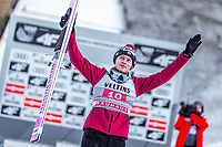 1st January 2020, Olympiaschanze, Garmisch Partenkirchen, Germany, FIS World cup Ski Jumping, 4-Hills competition; 3nd placed Dawid Kubacki of Poland during the winner ceremony for the Four Hills Tournament