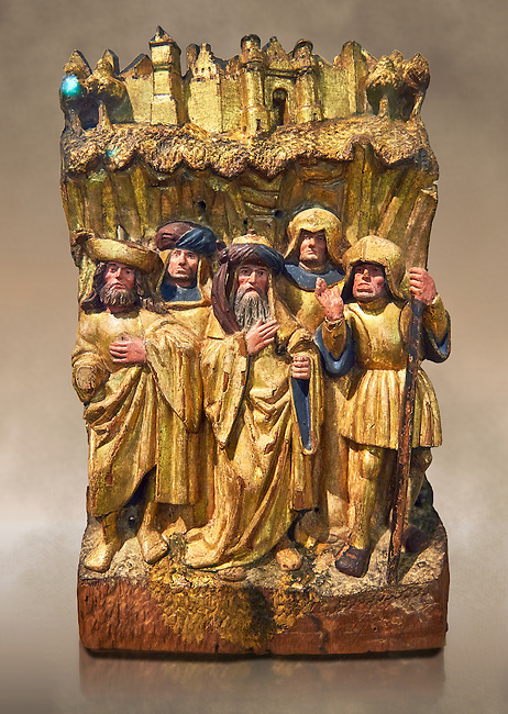 Painted oak relief of three soldiers and two men in a rocky landscape below the walls of Jerusalem, from Antwerp circa 1510-1515. This is a panel from the Passion.  Inv RF  297,  The Louvre Museum, Paris.