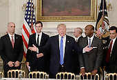 United States President Donald Trump (C) speaks as Juan Luciano (L) Chairman/President/CEO at Archer-Daniels-Midland Co, Jared Kushner, White House Senior Adviser, Kenneth Frazier Chairman and CEO, Merck  and Ford Motor CEO Mark Fields(R) look on during a  listening session with manufacturing CEOs  in the State Dining Room  of the White House on February 23, 2017 in Washington, DC. <br /> Credit: Olivier Douliery / Pool via CNP
