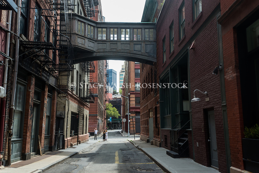 New York, NY - Staple Street with it's skybridge in the TriBeCa neighorhood of Lower Manhattan