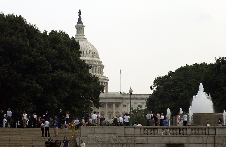 Visitors and staff evacuate the Capitol again on Wednesday afternoon after an airplane drifted in to restricted air space. The warning lasted only a few minutes before the Capitol Police announced it was a false alarm and allowed people to re-enter the building.