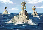 Illustrative image of currency symbols on rock in sea representing recession