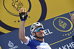 Elia Viviani (ITA) Quick-Step Floors at sign on before the start of Stage 1 The Nakheel Stage of the Dubai Tour 2018 the Dubai Tour&rsquo;s 5th edition, running 167km from Skydive Dubai to Palm Jumeirah, Dubai, United Arab Emirates. 6th February 2018.<br /> Picture: LaPresse/Fabio Ferrari | Cyclefile<br /> <br /> <br /> All photos usage must carry mandatory copyright credit (&copy; Cyclefile | LaPresse/Fabio Ferrari)