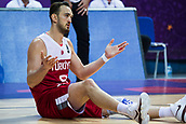 7th September 2017, Fenerbahce Arena, Istanbul, Turkey; FIBA Eurobasket Group D; Latvia versus Turkey; Center Semih Erden of Turkey reacts after the referee decision