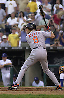 Baltimore's Cal Ripken flies out to left field in the second inning at Kauffman Stadium in Kansas City, Missouri on August 9, 2001.  The Royals won 6-4.