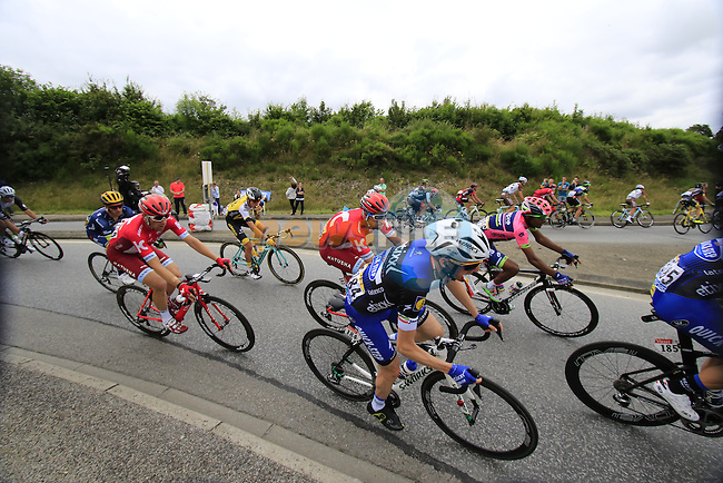 Riders including Dan Martin (IRL) Etixx-Quick Step pass through Segre during Stage 3 of the 2016 Tour de France, running 223.5km from Granville to Angers, France . 4th July 2016.<br /> Picture: Eoin Clarke | Newsfile<br /> <br /> <br /> All photos usage must carry mandatory copyright credit (&copy; Newsfile | Eoin Clarke)