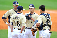 4 March 2012:  FIU Assistant Coach Drew French speaks with FIU pitcher Jose Lazaro (1) in the ninth inning as the FIU Golden Panthers defeated the Brown University Bears, 8-3, at University Park Stadium in Miami, Florida.