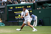 Novak Djokovic (SRB) during his match against Kei Nishikori (JPN) in their Men's Quarter Final match<br /> <br /> Photographer Rob Newell/CameraSport<br /> <br /> Wimbledon Lawn Tennis Championships - Day 9 - Wedesday 11th July 2018 -  All England Lawn Tennis and Croquet Club - Wimbledon - London - England<br /> <br /> World Copyright &not;&copy; 2017 CameraSport. All rights reserved. 43 Linden Ave. Countesthorpe. Leicester. England. LE8 5PG - Tel: +44 (0) 116 277 4147 - admin@camerasport.com - www.camerasport.com