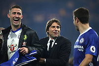 Gary Cahill and Chelsea Manager, Antonio Conte celebrate on the pitch after the match with Cesar Azpilicueta during Chelsea vs Watford, Premier League Football at Stamford Bridge on 15th May 2017