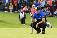 Scott Hend (AUS) lines up his putt on the 18th green on the 2nd playoff hole during Sunday's Final Round of the 2017 Omega European Masters held at Golf Club Crans-Sur-Sierre, Crans Montana, Switzerland. 10th September 2017.<br /> Picture: Eoin Clarke | Golffile<br /> <br /> <br /> All photos usage must carry mandatory copyright credit (&copy; Golffile | Eoin Clarke)