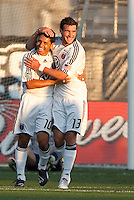 Christian Gomez (10) celebrates his goal with Chris Pontius (13). The San Jose Earthquakes tied DC United 2-2 at Buck Shaw Stadium in Santa Clara, California on July 25, 2009.