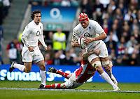 Photo: Richard Lane/Richard Lane Photography. England v Wales. 25/02/2012. England's Mouritz Botha attacks.