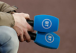 BT Sport microphones held by an assistant during the Premier League match at Molineux, Wolverhampton. Picture date: 14th February 2020. Picture credit should read: Darren Staples/Sportimage