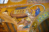 Medieval Byzantine style mosaics of the Bible story of Noah's ark Palatine Chapel, Cappella Palatina, Palermo, Italy